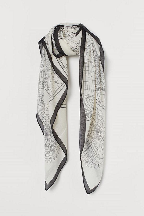 H&M Mönstrad scarf grå