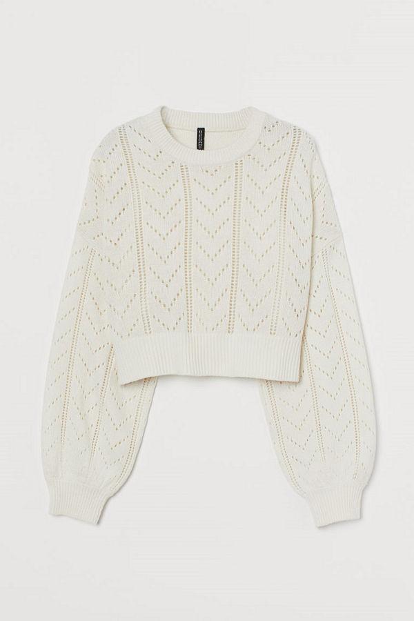 H&M Tröja med pointelle vit