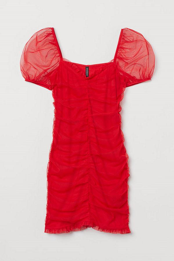 H&M Rynkad klänning orange