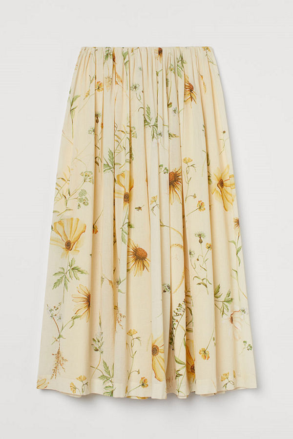 H&M Utställd kjol gul