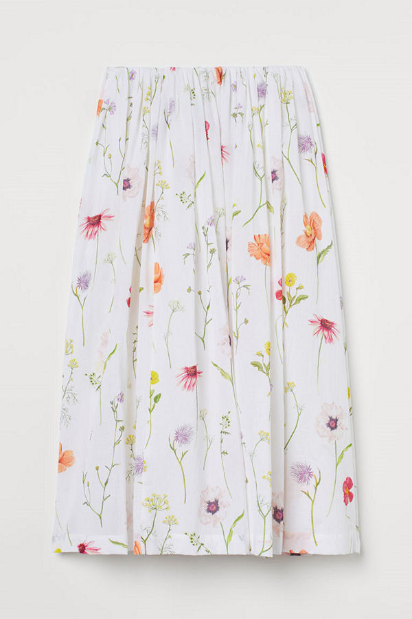 H&M Utställd kjol vit