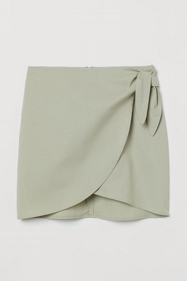 H&M Kort kjol med knytband grön