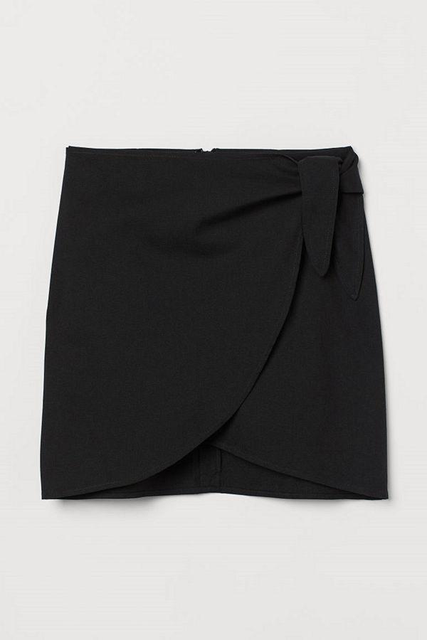 H&M Kort kjol med knytband svart
