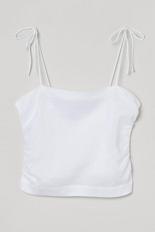 H&M Draperat linne vit