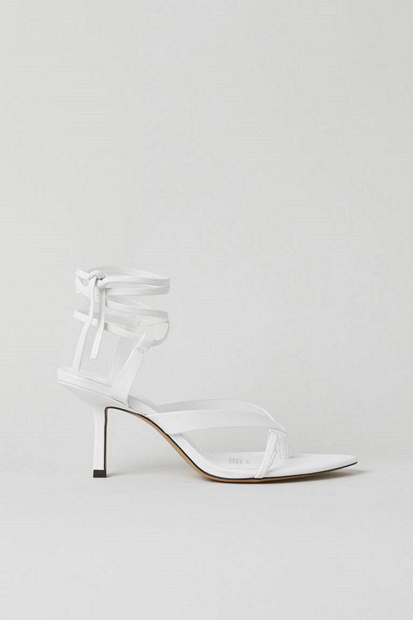 H&M Sandaletter med knytband vit