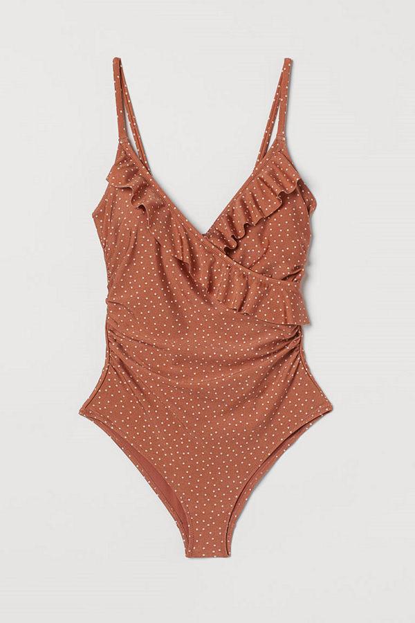 H&M Shape-baddräkt med volanger orange