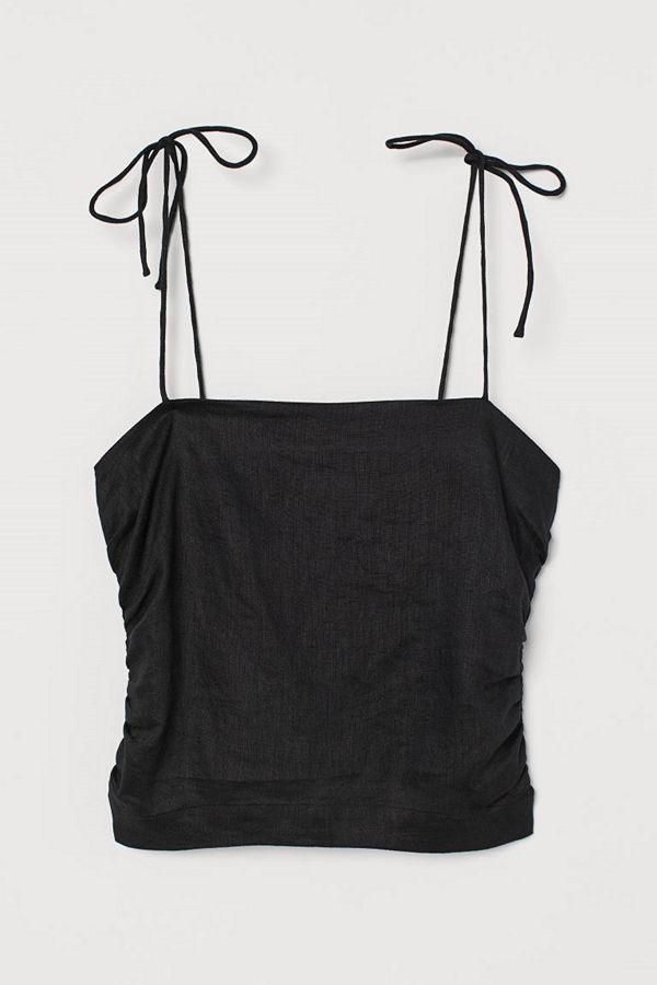 H&M Draperat linne svart