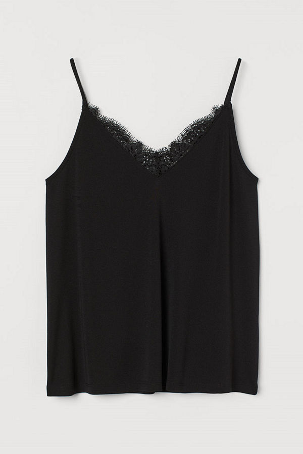 H&M Linne med spetskant svart