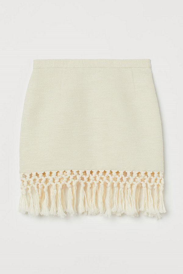 H&M Kjol med fransar vit