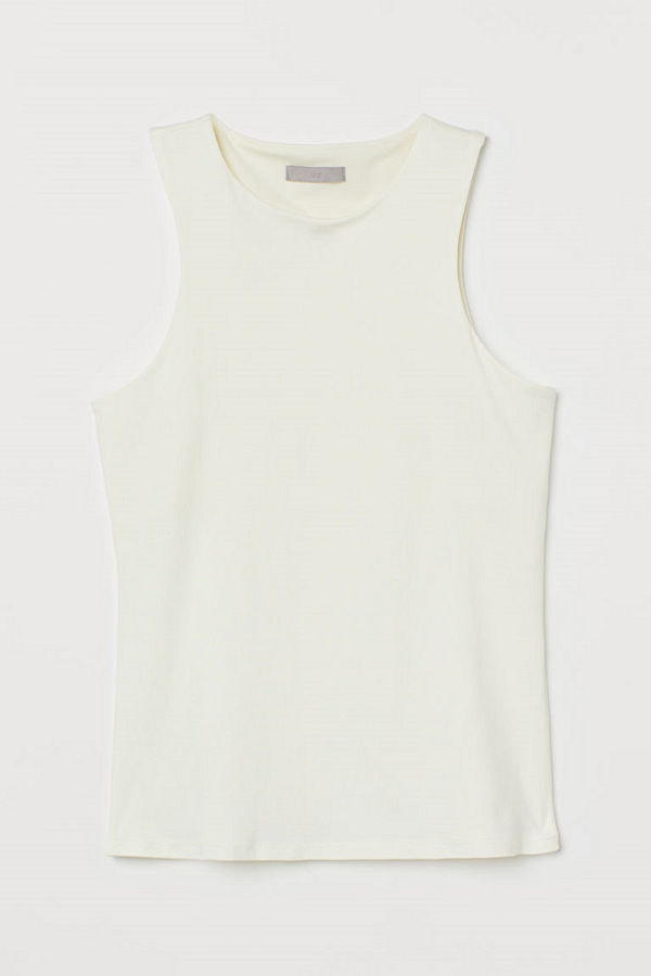 H&M Linne i trikå vit