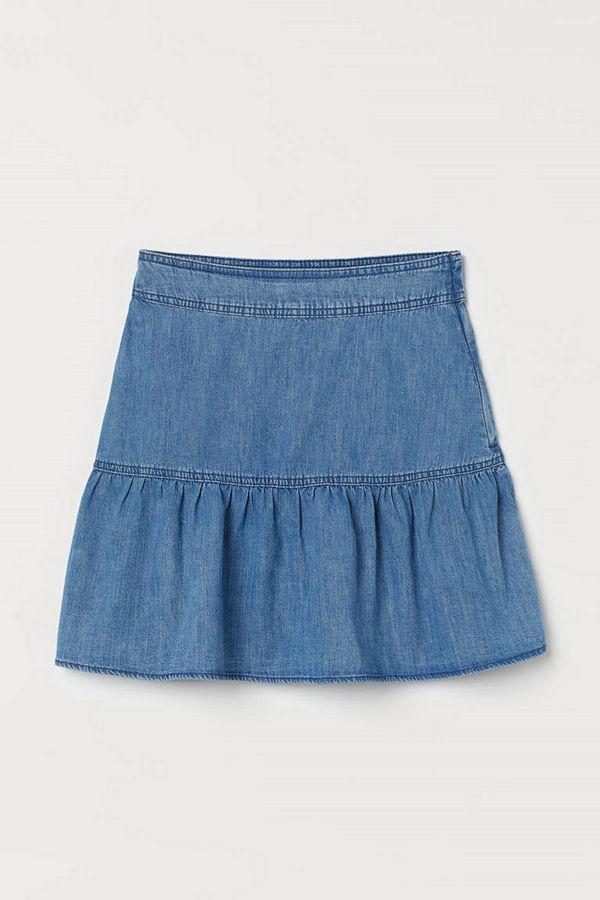 H&M Utställd denimkjol blå