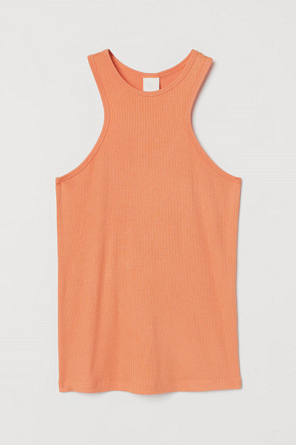 H&M Ribbad tanktop i modal orange