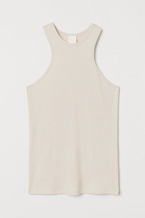 H&M Ribbad tanktop i modal beige
