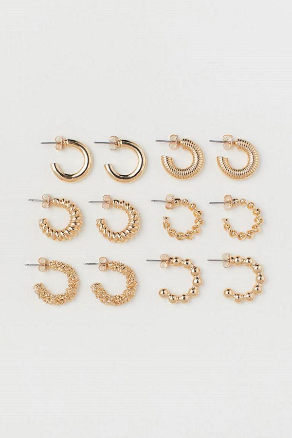 H&M 6 par runda örhängen guld
