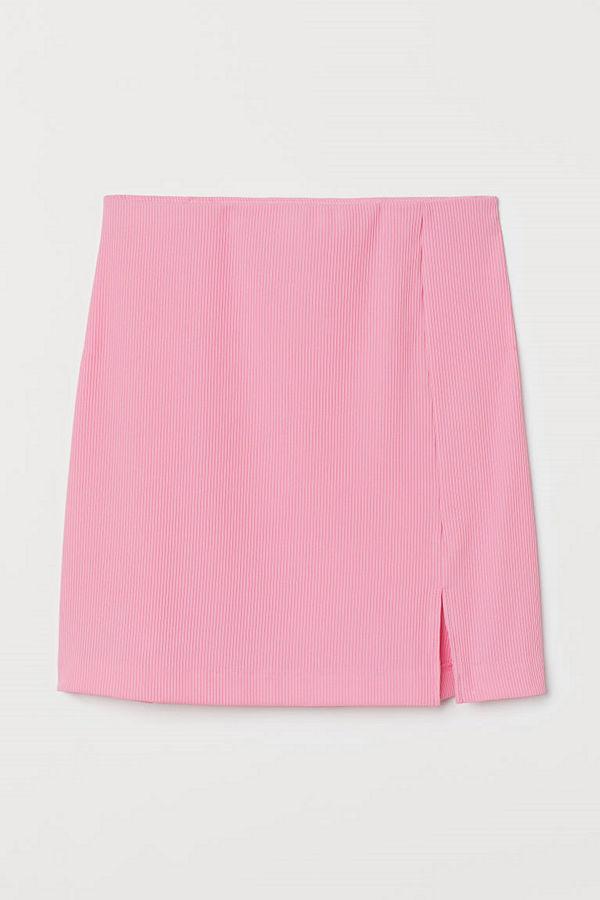 H&M Figurnära trikåkjol rosa