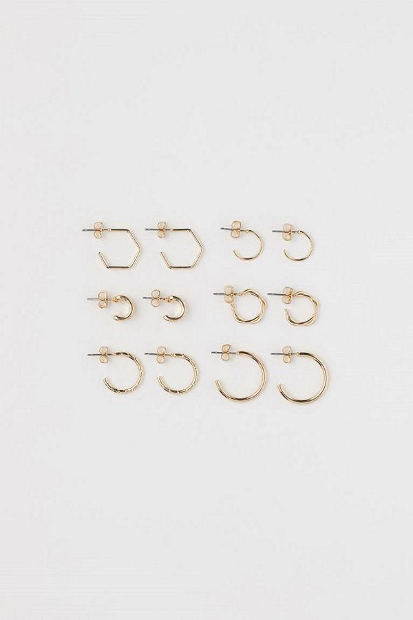 H&M 6 par örhängen guld