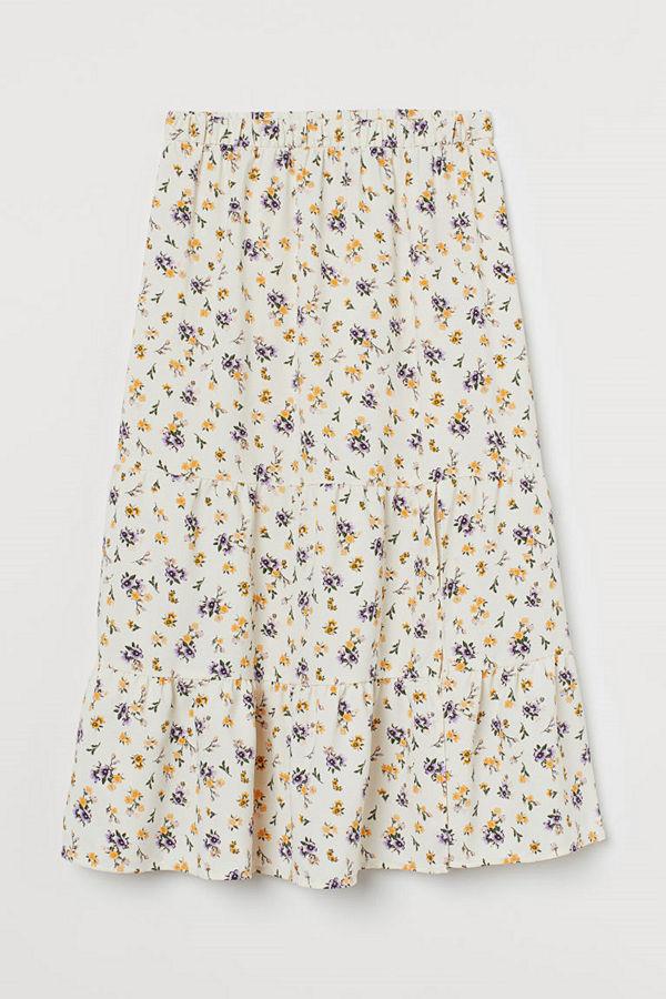 H&M Kjol med slits vit