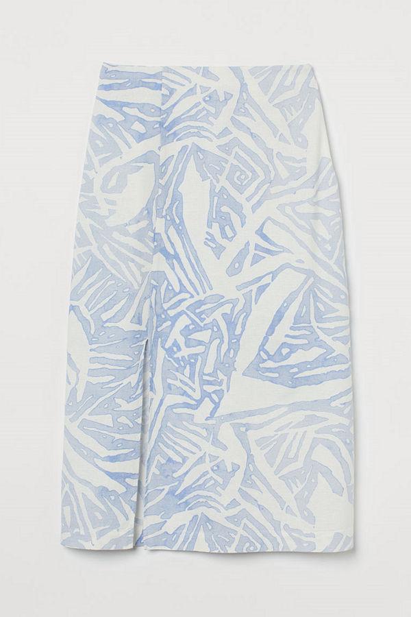 H&M Kjol i linmix blå