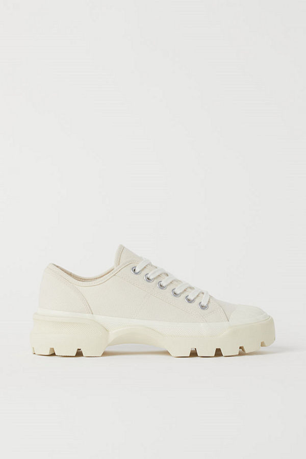 H&M Chunky sneakers i canvas vit
