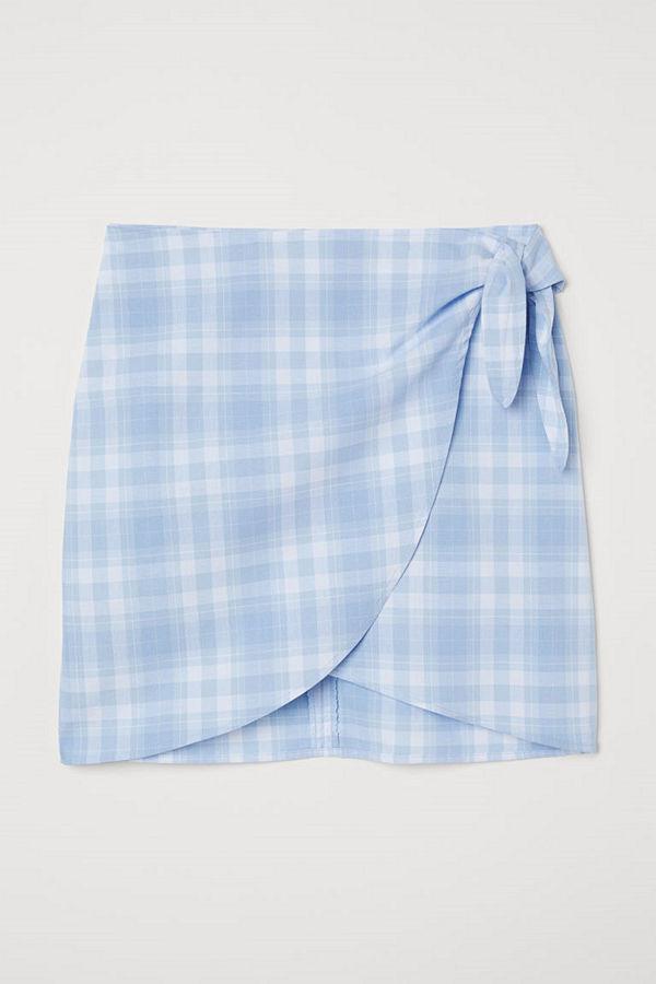 H&M Kort kjol med knytband blå