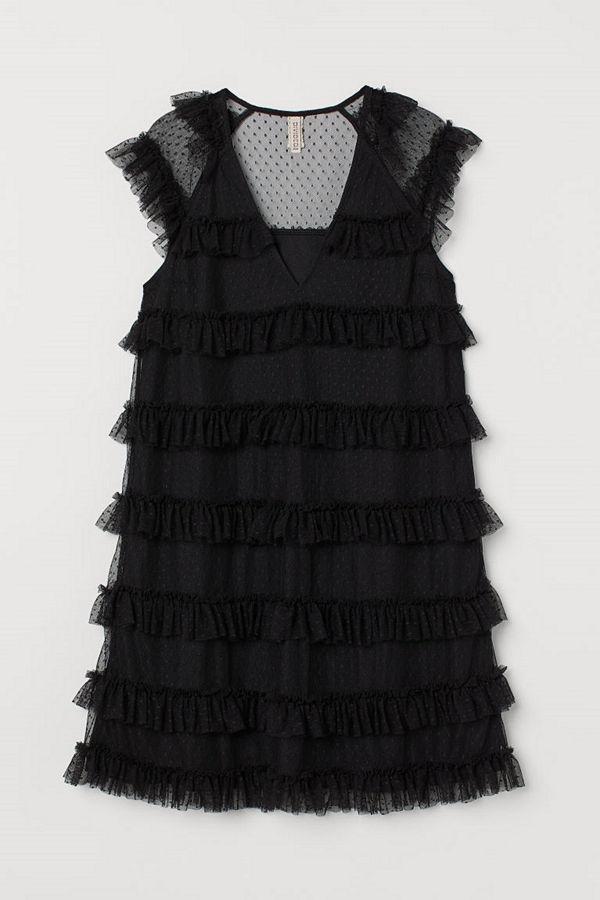 H&M Volangklänning i tyll svart
