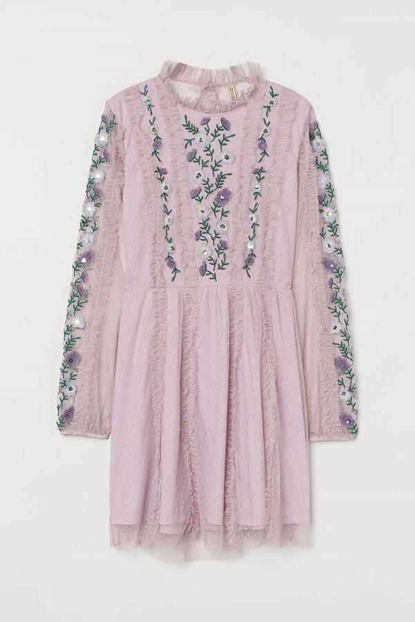 H&M Meshklänning med broderier lila