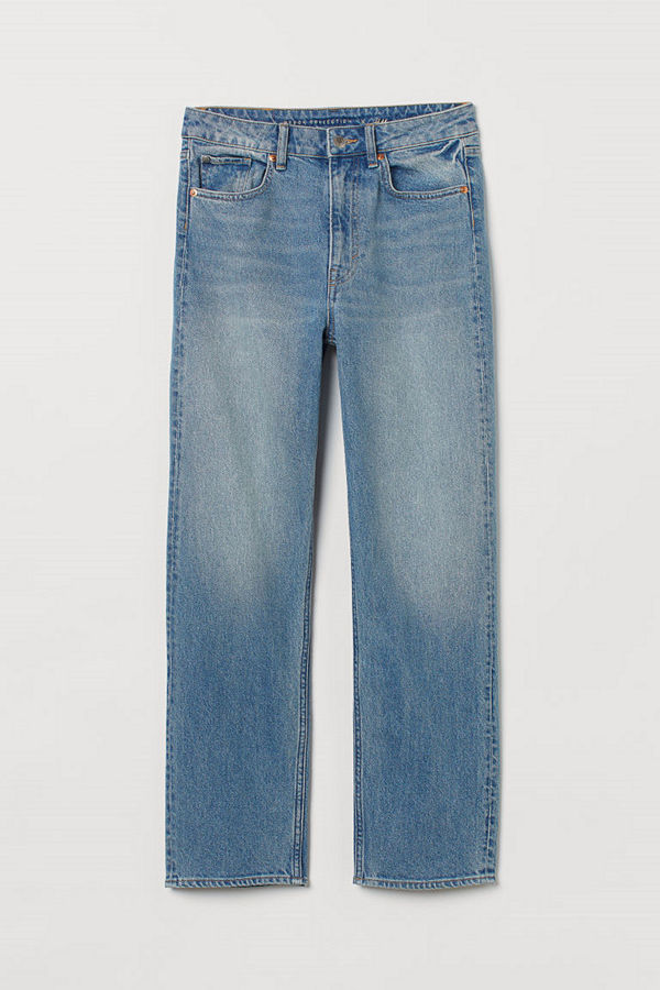H&M Straight High Ankle Jeans blå