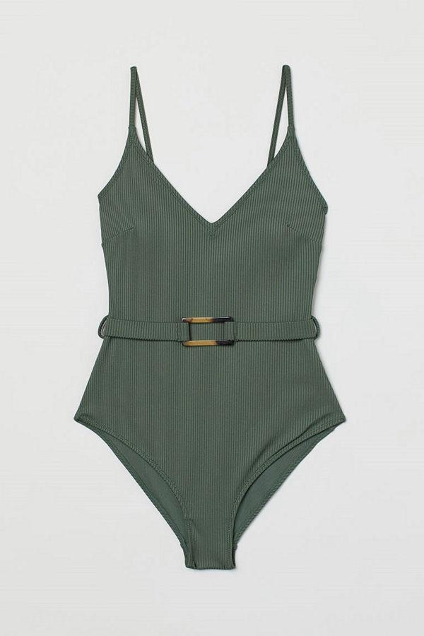 H&M Ribbad shape-baddräkt grön