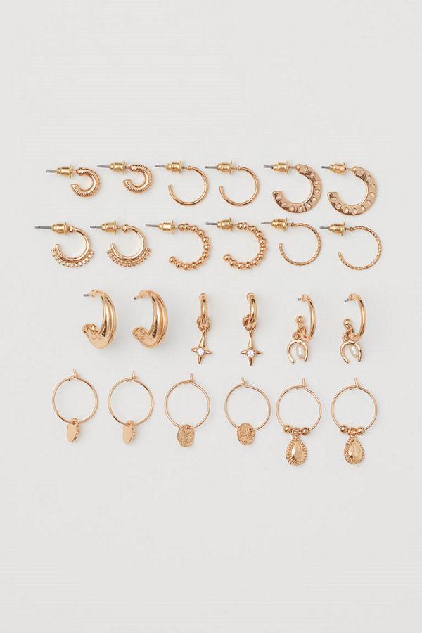 H&M 12-pack örhängen guld