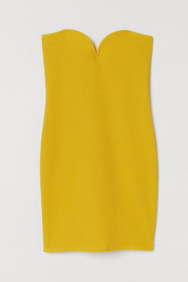 H&M Axelbandslös klänning gul