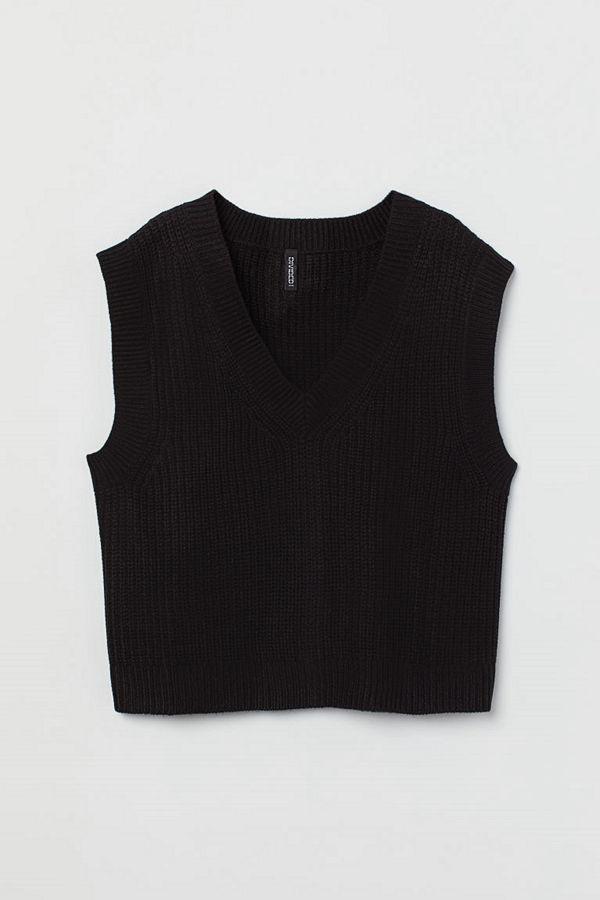 H&M Stickad slipover svart