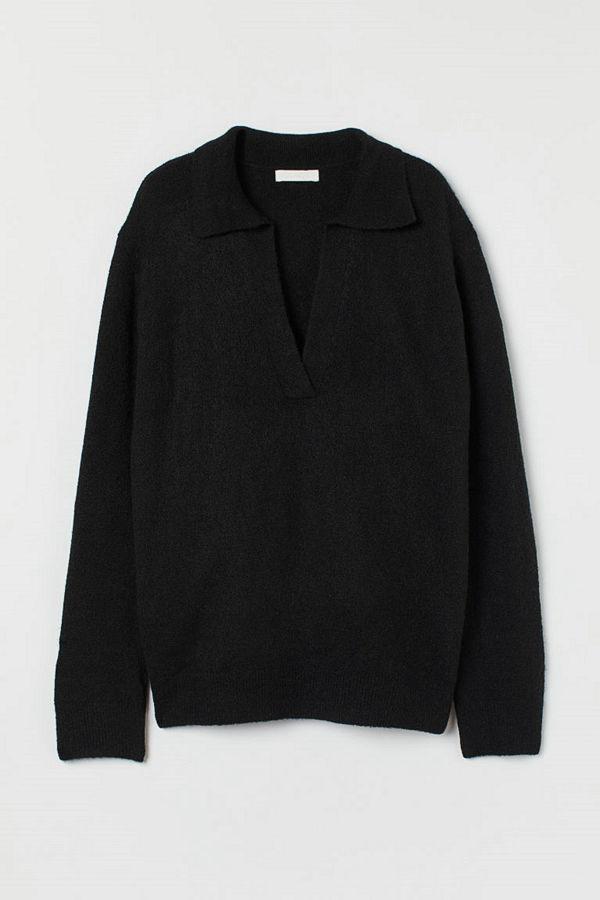 H&M Stickad tröja med krage svart