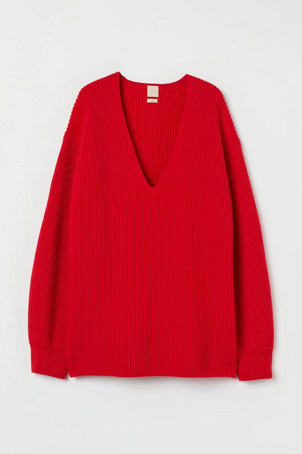 H&M Ribbstckad tröja i ull röd