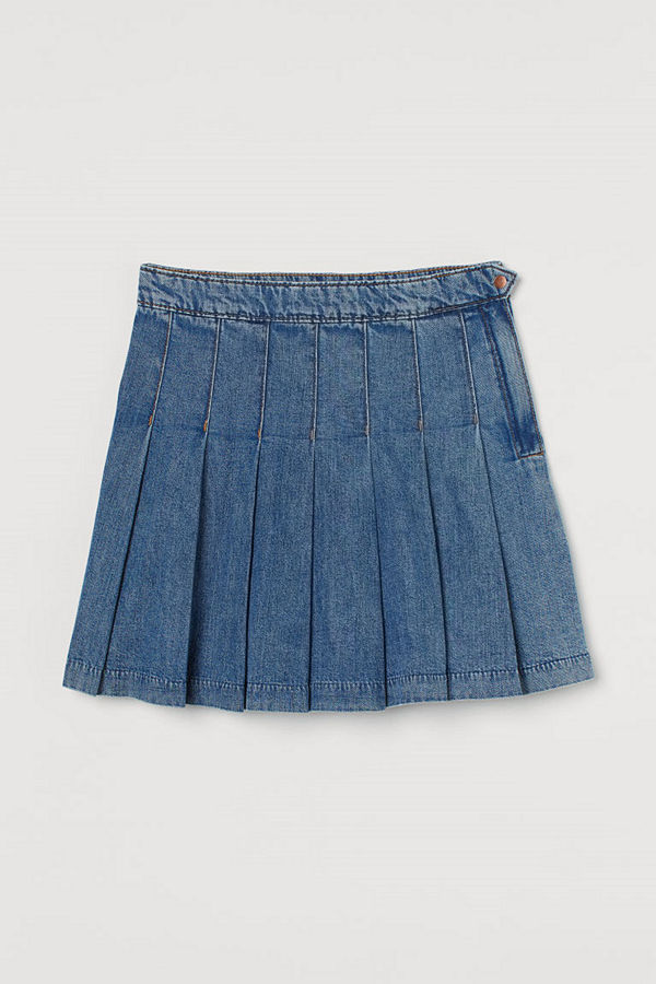 H&M Veckad denimkjol blå