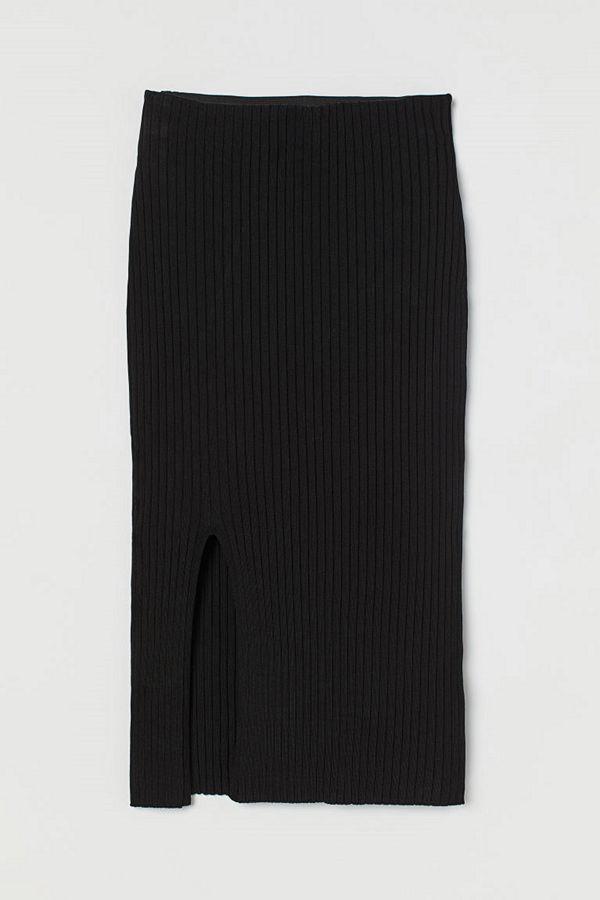 H&M Ribbstickad kjol svart