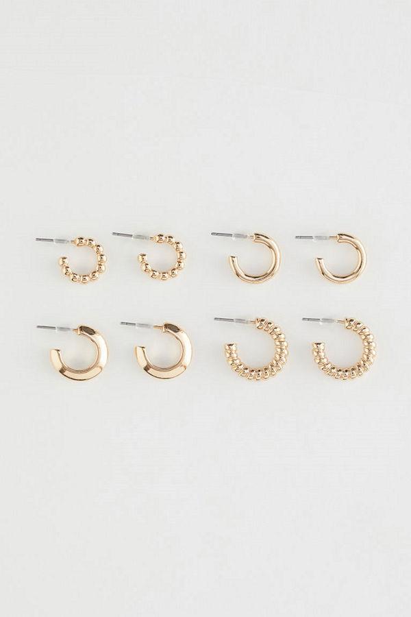 H&M 4 par runda örhängen guld