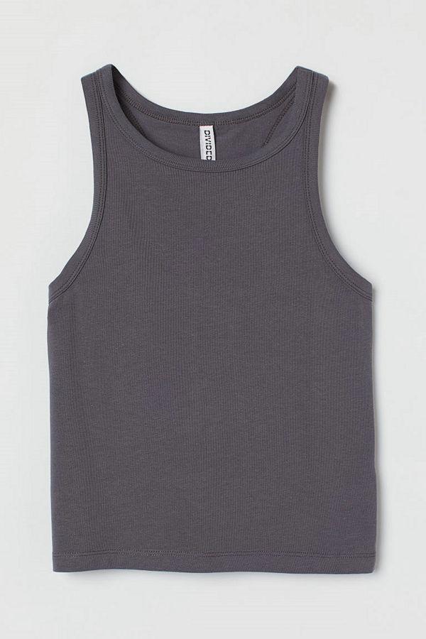 H&M Croppad tanktop grå