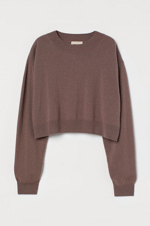 H&M Stickad tröja i kashmir lila