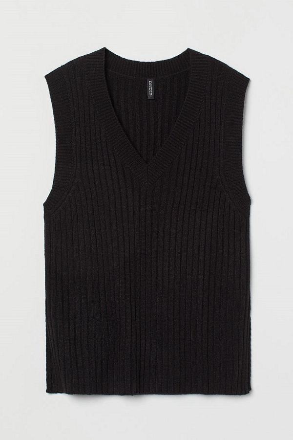 H&M Ribbstickad slipover svart