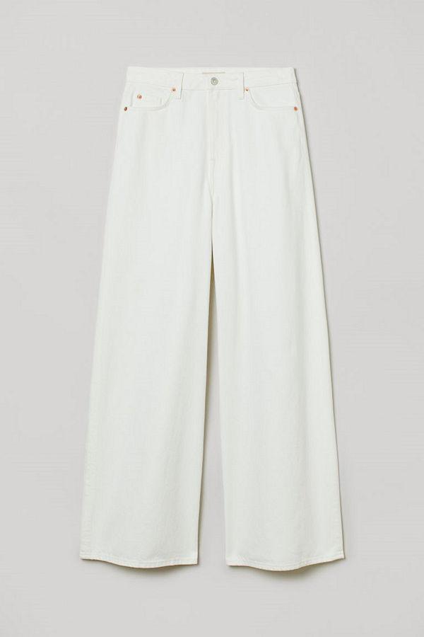 H&M Wide High Jeans vit