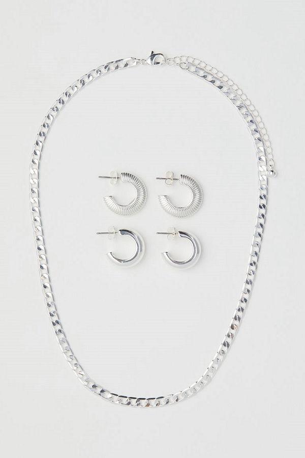 H&M Halsband och örhängen silver