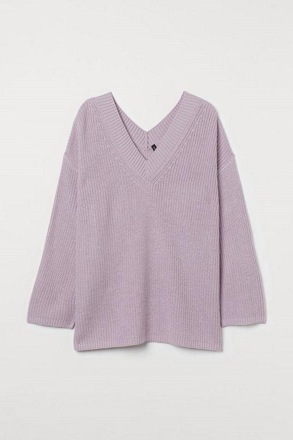 H&M H & M+ V-ringad tröja lila