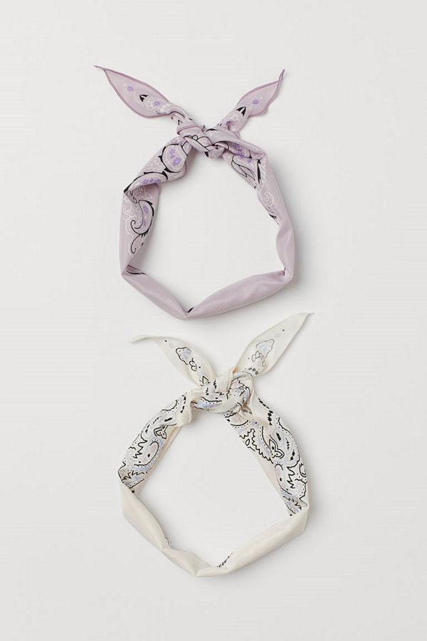 H&M 2-pack scarf/hårband lila