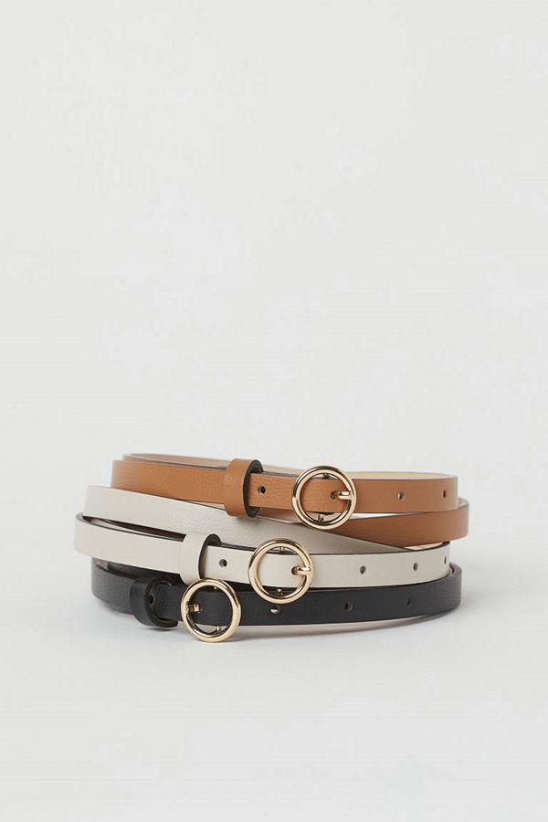 H&M 3-pack smalt skärp beige