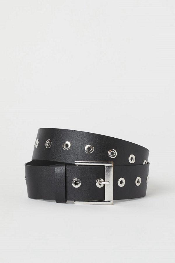 H&M Läderskärp med öljetter svart