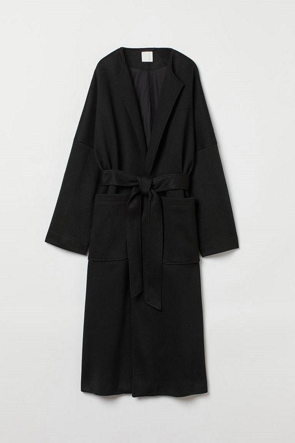 H&M Lång kappa svart