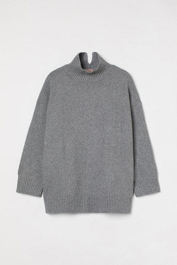 H&M H & M+ Stickad polotröja grå