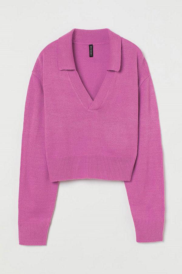 H&M Stickad tröja med krage rosa