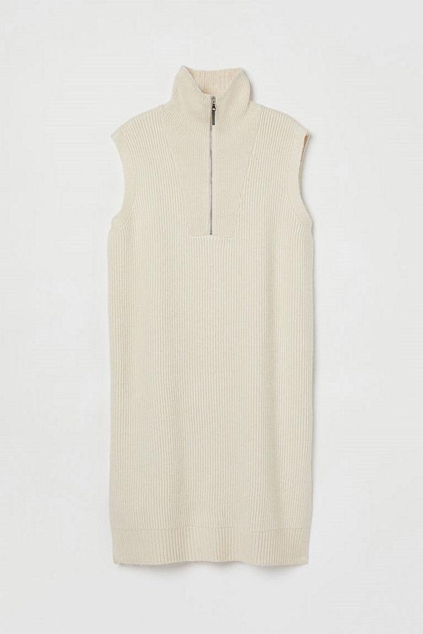 H&M H & M+ Stickad slipover med halvpolo beige