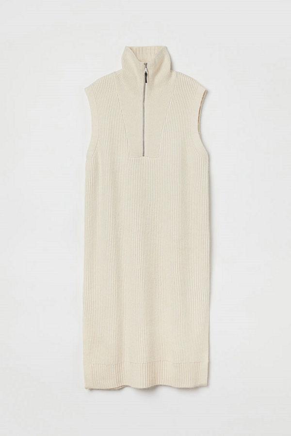 H&M Stickad slipover med halvpolo beige